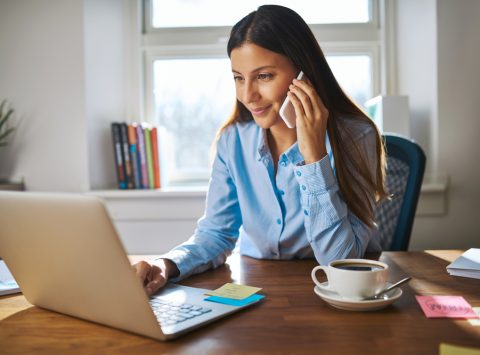 Woman on annual review call